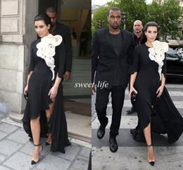 Wholesale Kim Kardashian Evening Dresses Fashion Black Long Sleeve Side Split Big Ruffled Flower Plus Size Prom Gown Red Carpet Celebrity Dresses