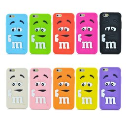 Wholesale M M s Chocolate Colorful Rainbow Beans Soft Silicone Cartoon Case Candy Coque Rubber cases for iphone s plus galaxy S6 S5