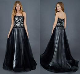 Wholesale 2016 Atelier Eme Gothic Lace Wedding Dresses Strapless A line Tulle Black Wedding Gowns Vintage Bridal Dresses