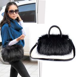 Wholesale-OEM blackWomen Angora Rabbi Hair Cute Ladies Handbag Shoulder Faux Fur Satchel Tote Long Purse Wallet