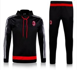 Wholesale 2016 survetement football AC Milan training chandal With Cap AC Milan soccer tracksuits with cap AC Milan sweatshirts top pants