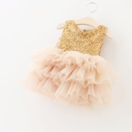Wholesale Hug Me Baby Girls Lace Tutu Dresses Summer Children Sleeveless for Kids Clothing New Party Lace Cake Vest Sequins Dress BB