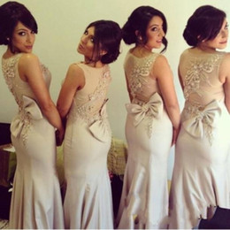 New Arrival Sexy Mermaid Long Bridesmaid Dresses Crew Neck Beading bridesmaids Wedding Party Dress Wed Bridesmaids Gowns Sweep Train