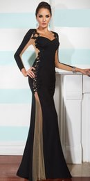Wholesale Appliques Long Sleeves Lace Evening Dressess Sweetheart Beautiful Evening Dress Fashion Celebrity Dresses Prom Party Dress