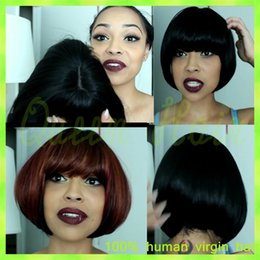 New Arrival!! Fashion Yaki Straight Short Wigs Natural Color Silk Top Full Lace Wig Brazilian 100% Human Hair With Baby Hair