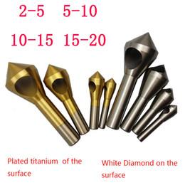 Promotion forets en métal 4pcs titane revêtu Forets Fraise ébavurage 2-5mm 5-10mm 10-15mm 15-20mm Tool Set étape d'expansion chanfrein chanfrein afin $ 18Personne