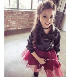 Wholesale Clothes Kids Ch - 2016 Girls PU Leather Zipper Tulle Lace Dress Children Clothing Gauze Yarn Ball Gown Tutu Outwear Kids Clothes Princess Dresses CH-450