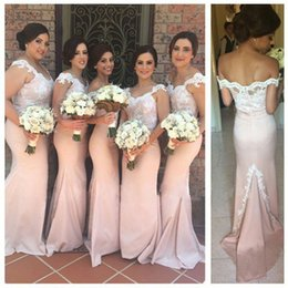 2015 Pink Mermaid Bridesmaid Dresses Lace Aplliqued Fashion Off Shoulder V Neck Floor Length Capped Long Occasion Gowns