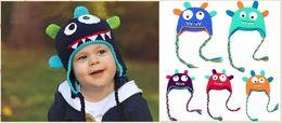 Ganchillo gorro manguitos en Línea-ganchillo bebé niños del sombrero del monstruo del oído manguito beanies sombreros para el invierno