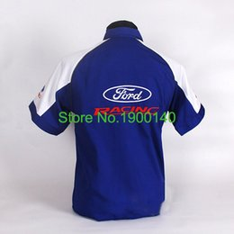 Wholesale NEW WRC FOR FORD F1 SHIRT MAN SUMMER WEAR EMBROIDERED SHORT SLEEVE FIA FORMULA PIT CREW WORKWEAR BLUE M L XL XXL