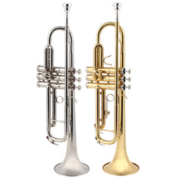 Wholesale 2015 Gold Sliver cm Length Brass Band Latest Europe design B Flat Trumpet with Tools MIA_612