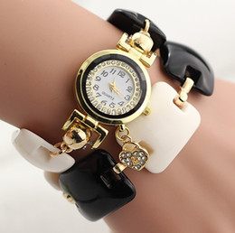 Heart Pendant bling Bracelet Watch ivory white band Women Fashion Rhinestone Wristwatch Golden Charms Shell Heart tag Crystal watch