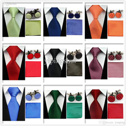 Lazo formal de color rosa en venta-Naranja Rojo noche al por mayor-Hombres Accesorios UN5 clásico liso partido formal corbata Conjunto verde rosado corbata Partido Gemelos Pañuelo Conjunto