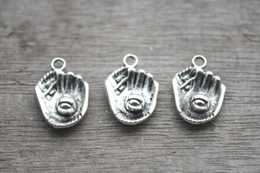 Wholesale 15pcs Baseball Mitt charms Antique Tibetan Silver Baseball mitt and ball charm pendants x15mm