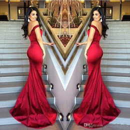 2016 New Arrival Backless Prom Dresses Mermaid Sexy Off-Shoulder Pleats Evening Gowns Sweep Train Cheap Red Formal Celebrity Dress