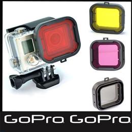 4pcs lot Lens Filter Diving Filter Gopro HERO 3+ 4 Camera red purple yellow gray Housing Case Underwater Lens Converter