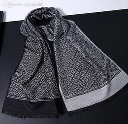 Foulards en coton de marque de gros à vendre-Vente en gros-2015 nouvelle marque Designer hommes écharpe longue rayée coton écharpe hiver écharpes taille 180 * 30cm