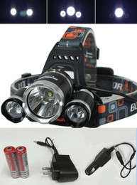 LED Headlamps 3 Cree T6 XM-L 5000LM for Outdoor Fishing Camping Waterproof Torch Flashlight with 18650 Rechargeable Battery Chargers DHL