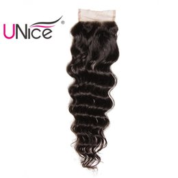 UNice Hair Brazilian Natural Wave Lace Closure Free Part 10-20inch 100% Human Hair 4x4 Lace Closures 1Piece Remy Hair Swiss Lace