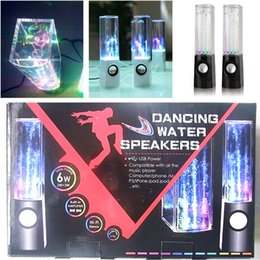 Wholesale Dancing Water Speaker Music Audio MM Player for Iphone s samsung LED Light in USB mini Colorful Water drop Show for Laptop PSP