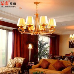 Wholesale New chinese Wrought iron art lantern holder chandeliers fabric lampshade vintage light antique restaurant dining room house lighting