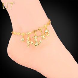 Wholesale Beach Foot Jewelry Barefoot Sandals Anklet K Gold Platinum Plated Summer Jewelry Sea Horse Starfish Beach Bracelet A313