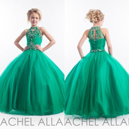 Wholesale Kids Pageant Girls - 2016 Emerald Green Girls Pageant Dresses Halter High Neck Tulle Beaded Crystals Kids Appliques Glitz Flower Girls Dresses