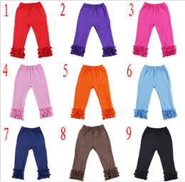 Wholesale DHL Free Ship Baby Girls Cotton Ruffles Leggings Pants tight Toddlers Children Baby Kids Ruffle Leggings With Ruffled kids clothes Y