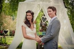 2015 Beach Lace Wedding Dresses Appplique Bow Backless Sweetheart vestido de noiva A Line Sash Garden Cheap Ivory Bridal gowns