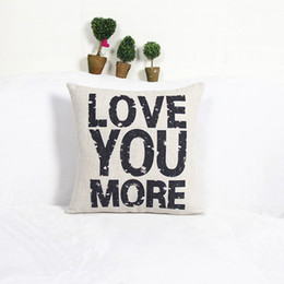 Love You More Cotton Linen Pillow Cover Free shipping