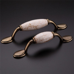 Wholesale 2PCS Continental Marbling Ceramic Garden Antique Cabinet Desk Drawer Handle With Screw cm Long New