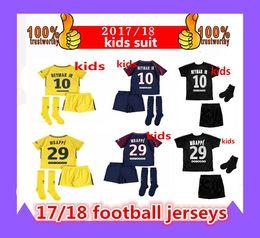 2017-18 niños + calcetines NEYMAR JR DI MARIA camisetas de fútbol niños jóvenes MBAPPE Di Maria Draxler DANI ALVES Cavani tercera camiseta de fútbol