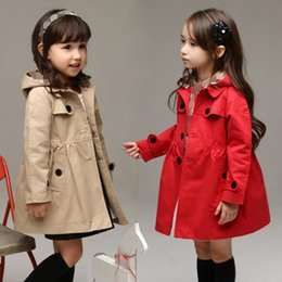 Baby Girls Korean Tench coats With Hooded kids Long Sleeve winter Coats clothing Children Outwear Clothes