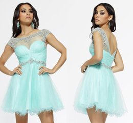 Wholesale 2015 fashion new design Scoop Tulle Sheer Neckline Beaded Baby Blue Homecoming Dresses with Backless Mini Graduation party Cocktail Gowns