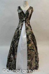 Front Split Camo Wedding Gowns Realtree Camouflage Bridal Dresses with Cystal White Camo Bride Dresses 2015 Floor Length Formal Dress