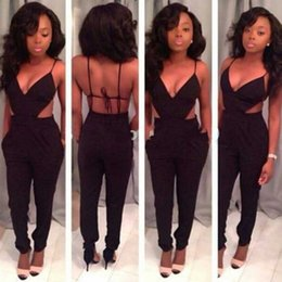High Quality New Womens Jumpsuits Sexy Black Backless Clubwear Rompers Women Clothes