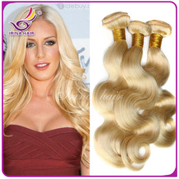 Wholesale 100 Blonde Human Hair Extensions Double Weft Remy Blonde Weave Mixd Lengths Body Wave Queen Hair Sold By Bella Hair g DHL