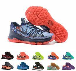 Wholesale Kevin Durant KD Basketball Shoes for Men V8 Bright Crimson Hyper Cobalt Hunts Hill Sunrise USA KD8 Sports Shoes Size