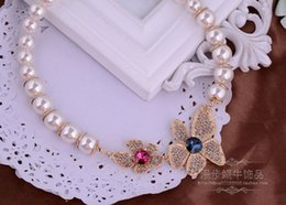 diamond flower pendant (9*4.5cm) pearl chain lady's necklace (44+extra 3 cm)(woniu152)