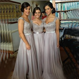 Wholesale Silver chiffon lace Custom made New Big Discount cap sleeves long Bridesmaid Dresses formal dresses with ribbon sash wedding party gown