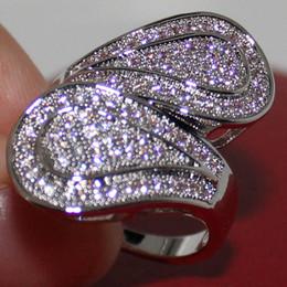 Women's 14K White Gold Filled 110pcs Simulated Diamond CZ Stone Paved Wedding Band Ring Size 7-10