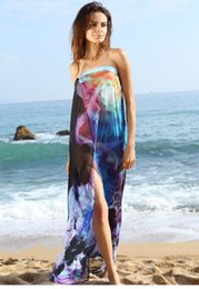 Wholesale saida de praia women summer beachwear Beach Dress Chiffon Sarong Cool Colorful Print Beach Cover Up Bikini Wrap Pareo