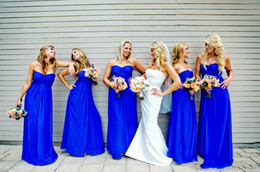 Royal Blue Fashion Pleated Long Chiffon Bridesmaid Dresses Sweetheart Ruched Backless A line New Wedding Bridesmaid Formal Dress Custom Made
