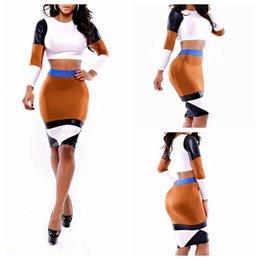 Wholesale Club Clothing Clubwear - Women Patchwork 2pcs Club Bandage Bodycon Cocktail Dress Clothing Slim Clubwear