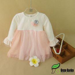 Wholesale Little Princess Baby One Piece - Baby Kids Princess Dress 2015 Winter Korean Style Children Tulle Dresses One-piece Dress For Little Girls 5PCS lot 70-100 Fit 1-4Age T1856