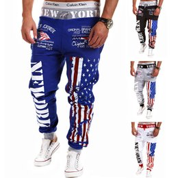 2017 new European code digital printing pants star speed sell through foreign trade men's trousers men's flag casual trousers haun pants tid