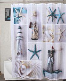Wholesale Fabric polyester terylene blue sea life seastar shell waterproof shower curtains thicken curtain bathroom curtains size180x180 cm