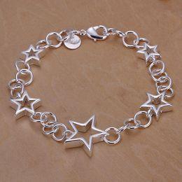 Wholesale Fashion silver stars chain link bracelets for girls women jewelry brasaletes de mujer aros de plata articulos de cumpleanos