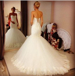 2016 New Mermaid Wedding Dresses Sweetheart Lace Up Back Draped Tulle Bodice Custom Made Cheap Bridal Gowns Hot Sale