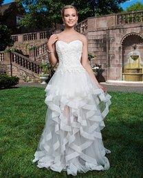 Wholesale Sweatheart Backless Wedding Gowns - Sincerity Bridal 2015 Sweatheart Wedding Dresses Sleeveless Hi-Lo Bridal Ball Gown Tiered Ruffles Backless Lace Bridal Short Wedding Dresses